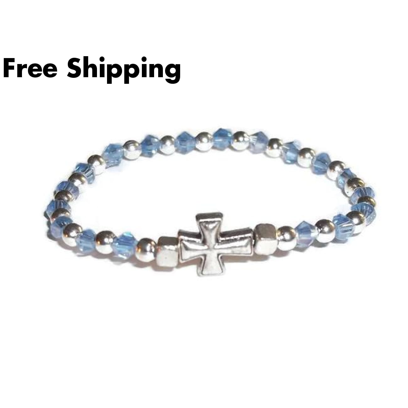 Cross Pale Blue Swarovski Crystal Childrens Baby Infant Keepsake Hand Crafted Stretch Bracelet (Fits 6Mo-12Mo) - Bracelets