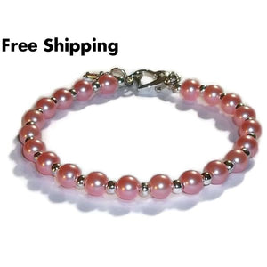 Cross Pink Acrylic Pearl Bead Silver Plated Hand Crafted Bangle Bracelet W/ Heart Clasp - Bracelets
