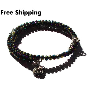 Cross & Rose Gold Iris Crystal Beaded Artisan Crafted Wrap Bracelet - New Arrival