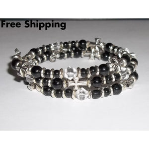 Crosses Black Onyx & Clear Glass Beaded Silver Unisex Artisan Crafted Wrap Bracelet - Bracelets