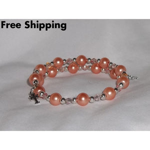 Crosses Blush Pearl And Swarovski Crystal Silver Hand Crafted Wrap Bangle Bracelet - Bracelets