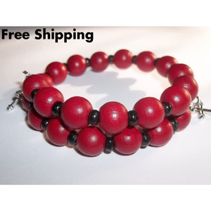 Crosses Red & Black Wooden Artisan Crafted Wrap Bracelet - Bracelets