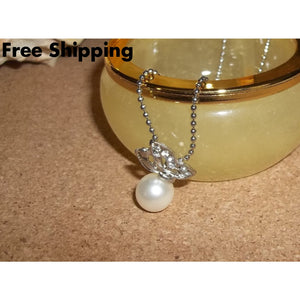 Crystal Inset Butterfly & Faux Pearl Silver Plated Fashion Pendant 18 Silver Plated Ball Chain - Pendants