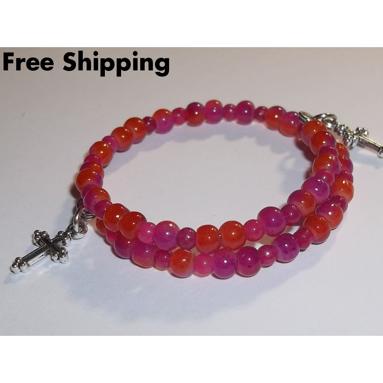 Dainty Diva Crosses Hot Pink Orange 2 Tone Glass Beaded Artisan Crafted Stackables Wrap Bracelet (Xxs-Xs) - Bracelets