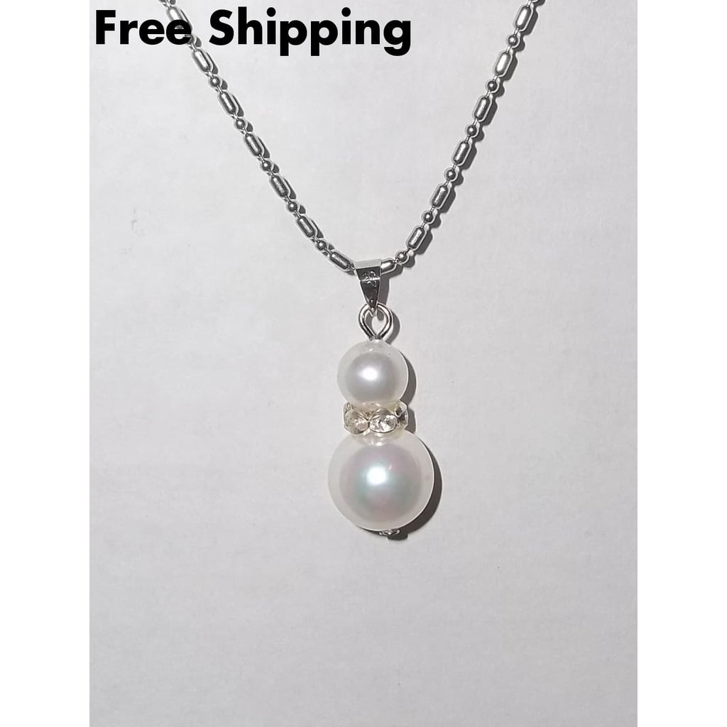 Dainty Diva White Pearl Bead W/ Crystal Accent Drop Pendant Silver Plated Chain (Xs) - Pendants