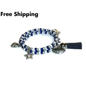 Dallas Cowboys Themed Navy Blue Grey & White Glass Beaded Football Lady Fan Artisan Crafted Charm Bracelet - New Arrival