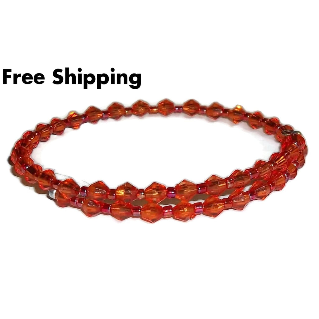Dark Orange Acrylic Beaded Artisan Crafted Stackable Wrap Bracelet (Xs-S) - New Arrival