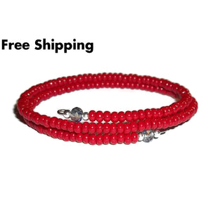 Dark Red Glass & Grey Swarovksi Crystal Beaded Artisan Crafted Stackables Wrap Bracelet (Xxs-Xs) - New Arrival