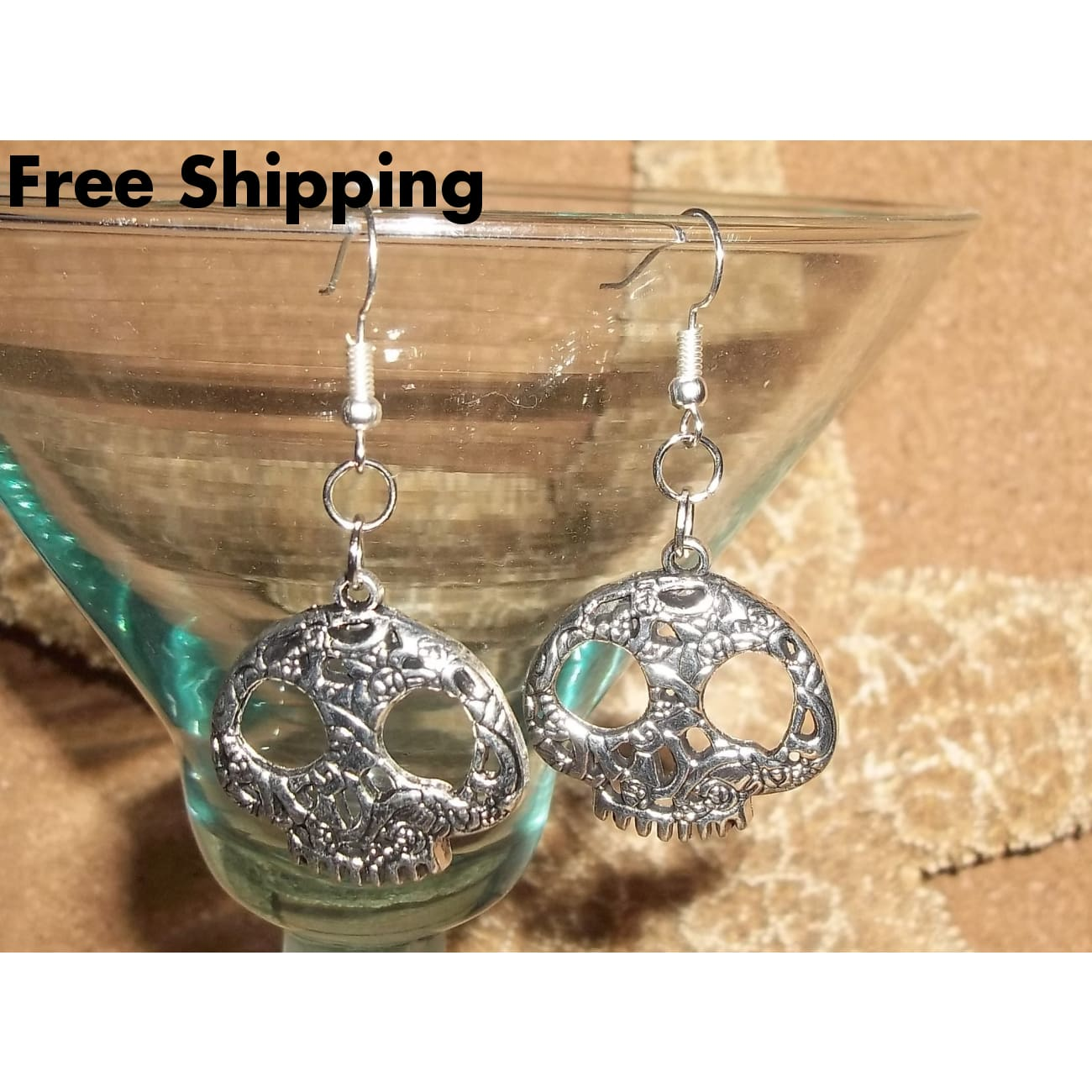 Day Of The Dead Skull Candy Skull Rose Skull Stainless Steel Hand Crafted Earrings - Earrings