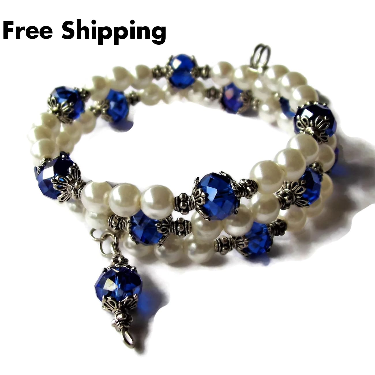 Deep Blue Swarovski Crystal I Heart My Soldier & White Pearl Beaded Artisan Crafted Wrap Bracelet - Bracelets