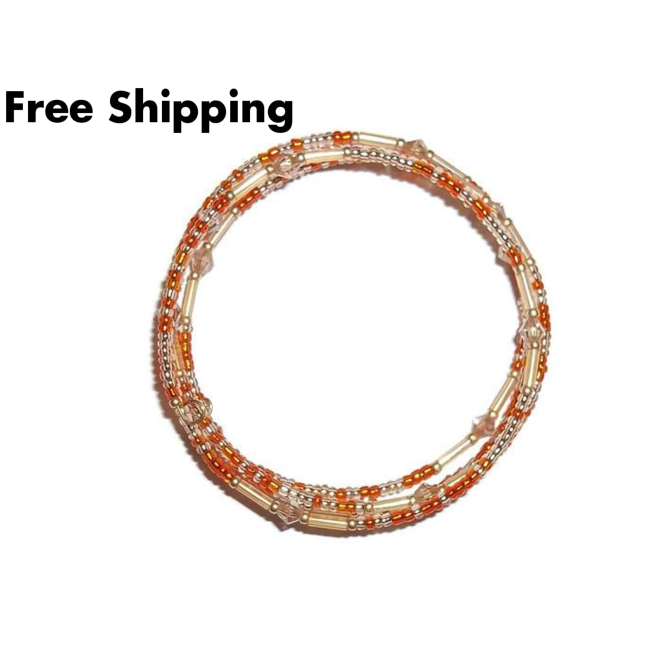 Deep Orange & Gold Glass & Champagne Crystal Artisan Crafted Wrap Bracelet - New Arrival