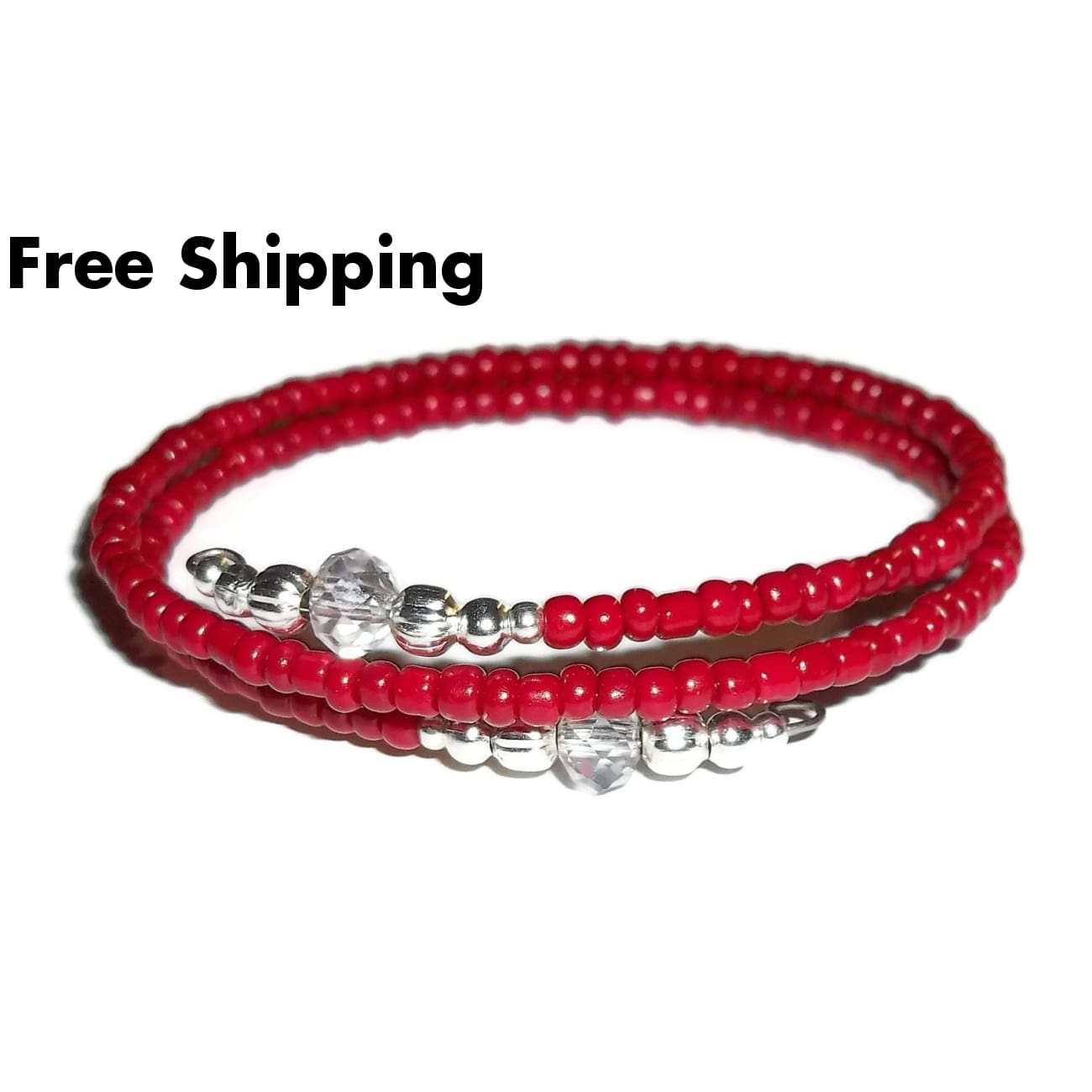 Deep Red Glass & Clear Swarovski Crystal Ends Silver Artisan Crafted Stackables Adjustable Bracelet (S-M) - New Arrival