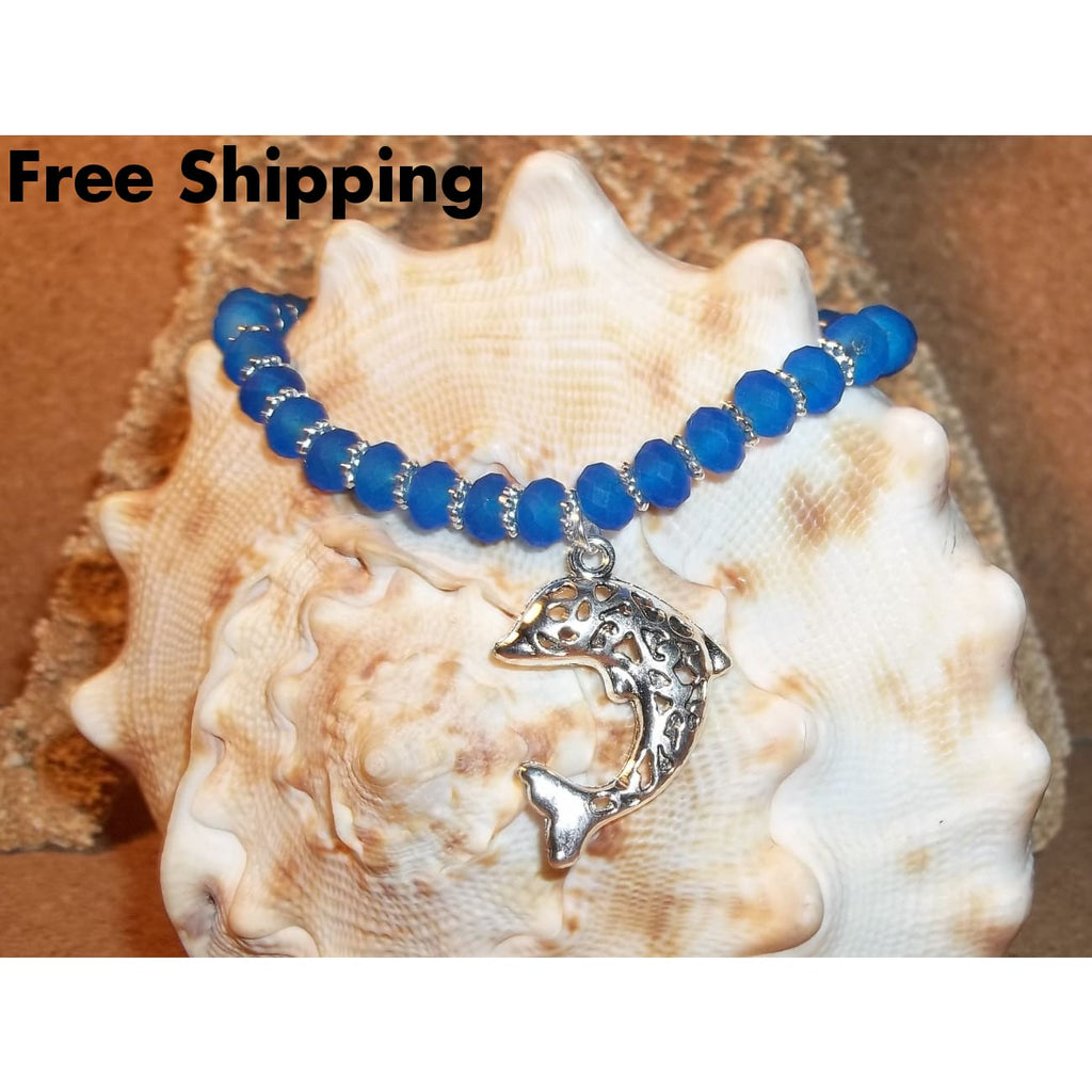 Dolphin & Blue Sea Glass Beaded Hand Crafted Stretch Bracelet - Bracelets