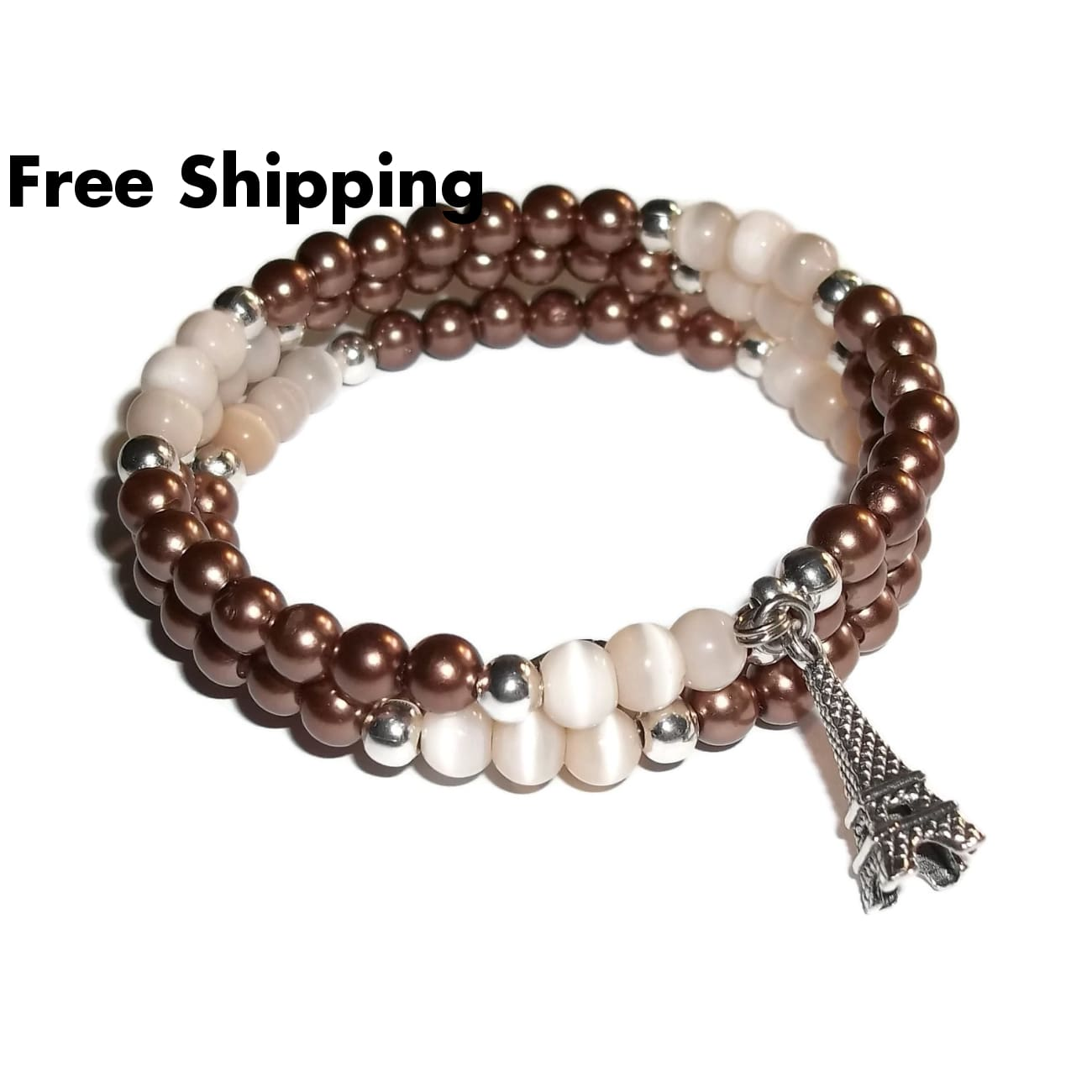 Eiffel Tower Chocolate Pearl & Cream Cats Eye Beaded Artisan Crafted Wrap Bracelet - Bracelets