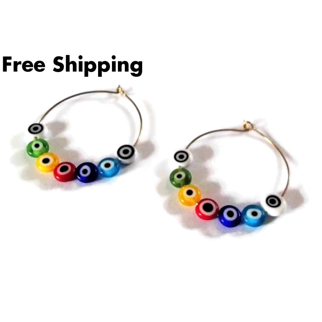 Evil Eye Rolled Glass Beaded 40Mm Gold Tone Artisan Crafted Hoop Earrings - Earrings