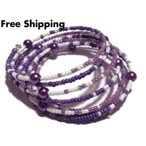 Floral Angel Purple & White Glass Beaded Artisan Crafted Wrap Bracelet (M-L) - Bracelets