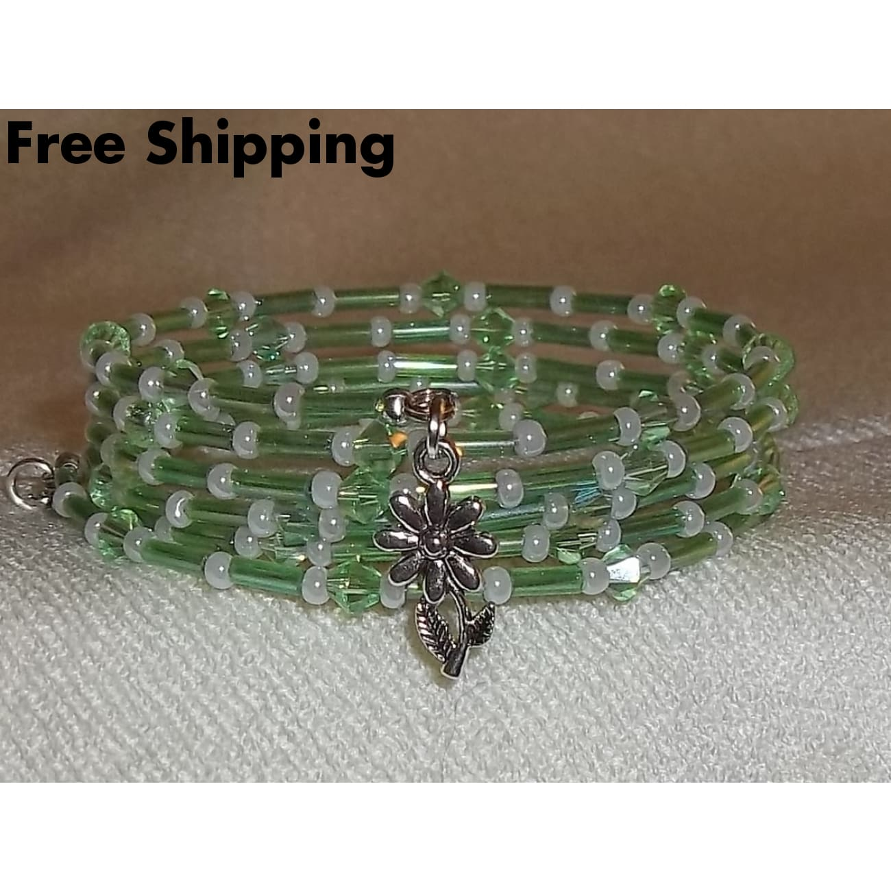 Flower Green Swarovski Crystal Glass Bugle Bead & White Pearl Preciosa Beaded Silver Ooak Artisan Crafted Wrap Bracelet - Bracelets