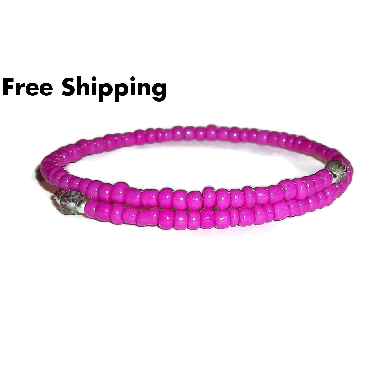Fuscia Pink Glass & Shimmering Grey Swarovski Crystal Beaded Artisan Crafted Stackable Bracelet (Xs-S) - New Arrival