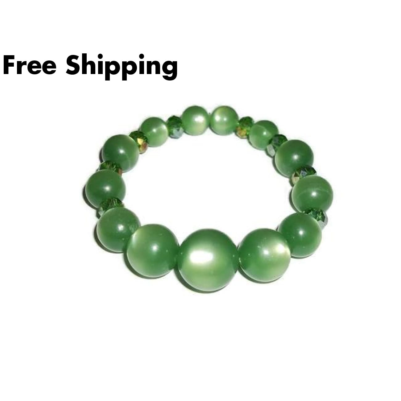 Green Cats Eye & Swarovski Crystal Beaded Stretch Bracelet - Bracelets