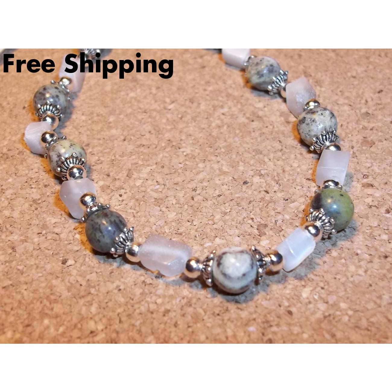 Green Serpentine & White Cats Eye Glass Tibetan Silver 18 Hand Crafted Choker Necklace - Necklaces