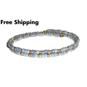 Grey & Gold Glass Beaded Artisan Crafted Stackable Wrap Bracelet (S-M) - New Arrival