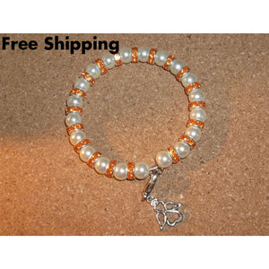 Guardian Angel White Pearl Bead And Orange Crystal Rondelle Beaded Hand Crafted Bangle Bracelet - Bracelets
