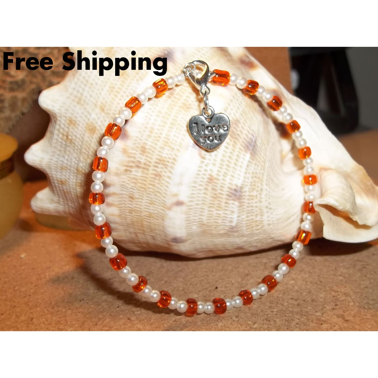 Heart I Love You Orange Glass & White Pearl Beaded Stackablescrafted Charm Bangle Bracelet - Bracelets