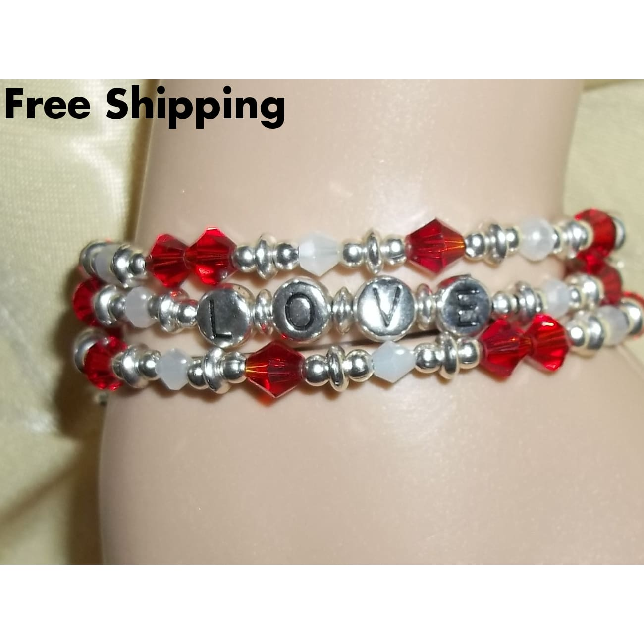 Heart Love Cross Red Glass & Moonstone Silver Hand Crafted Wrap Bracelet - Bracelets