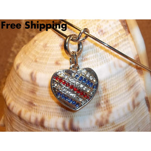Heart Red White & Blue Crystal Encrusted Patriotic Hand Crafted Adjustable Charm Bracelet - Charms & Charm Bracelets