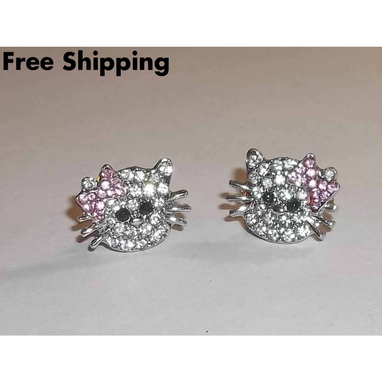 Hello Kitty Clear And Pink Crystal Silver Tone Post Back Stud Earrings - Earrings