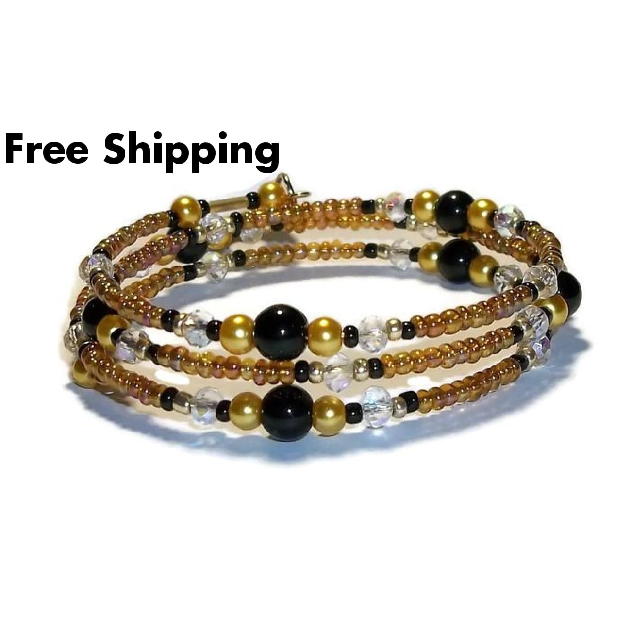 Hope Amber Carnival Glass Gold Glass Pearl Clear Ab Swarovski Crystals & Black Onyx Beaded Artisan Crafted 3 Wrap Bracelet (Xs_S) - New