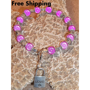 Hot Pink Irridescent & Celtic Knot Beaded Charm Bangle With Love Padlock Dangle Charm - Bracelets