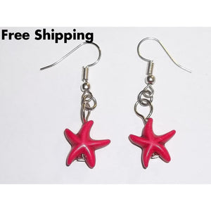 Hot Pink Starfish Artisan Crafted Silver Dangle Earrings - Earrings