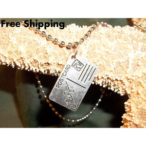 I Love You Postcard 1 Tibetan Silver Unisex Pendant On 20 Stainless Steel Ball Chain - Pendants