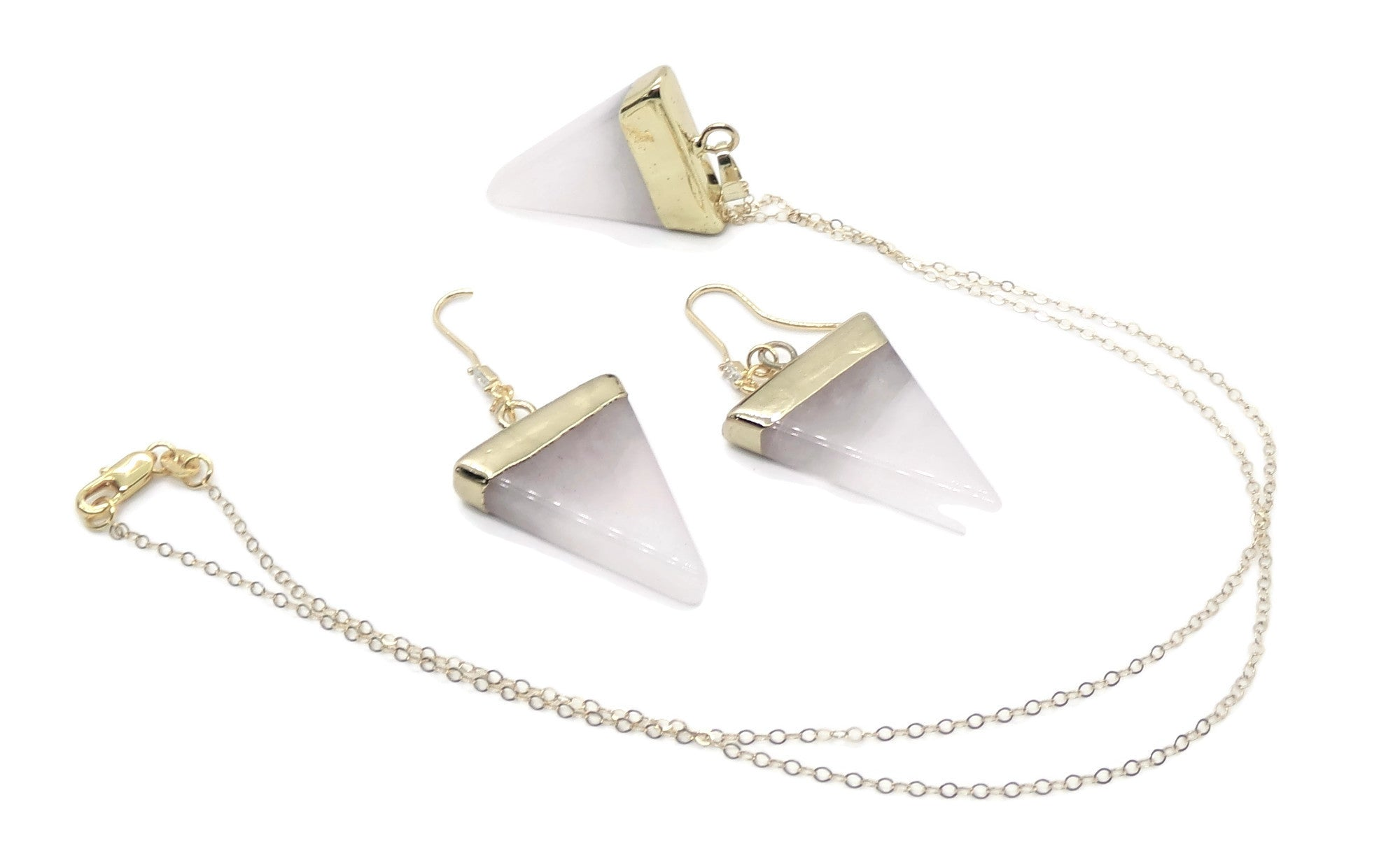 Rose Quartz Triangle Pendant & Earrings 24k Gold Leaf  14kgf Trio Jewelry Set, Gift for Her, Rose Quartz Jewelry Trio, Women's  Gift