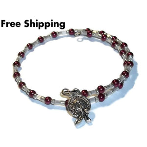 Ladies Hat Maroon Pearl & White Glass Beaded Silver Artisan Crafted Stackables Adjustable Bracelet (Xxs-S) - New Arrival