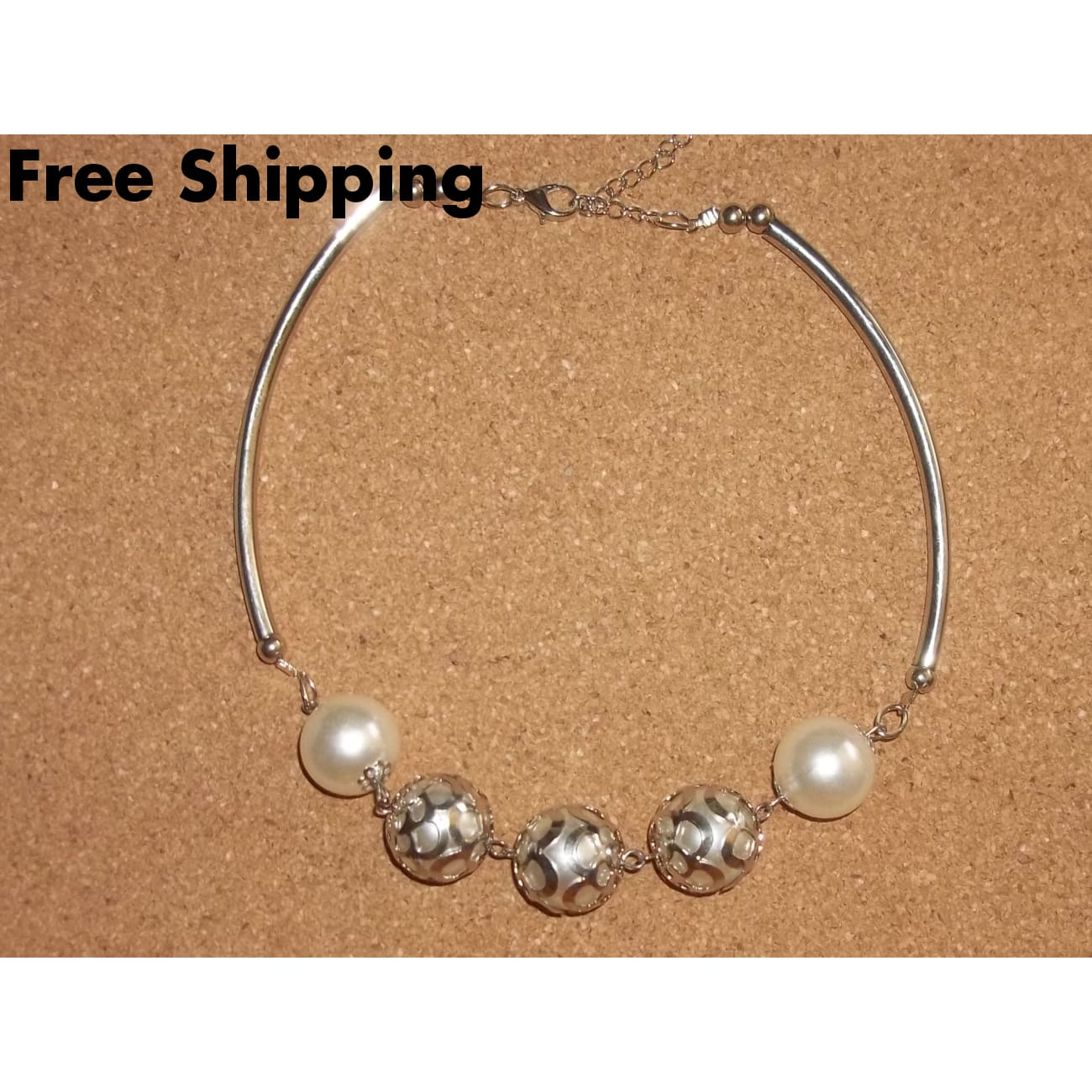 Large Pearl & Tube Bead Silver Plated Wedding Prom Formal Statement Necklace 18-20Adjustable - Necklaces