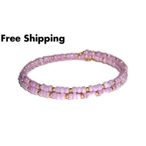 Lavender & Gold Glass Beaded Artisan Crafted Stackable Wrap Bracelet (S-M) - New Arrival