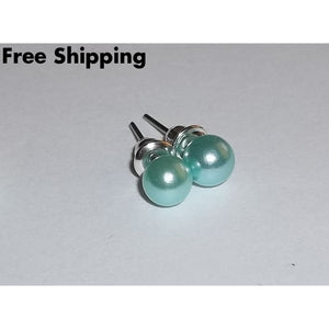 Light & Dark Teal 6Mm Faux Pearl Ball Stud Earrings (2Pr) - Earrings