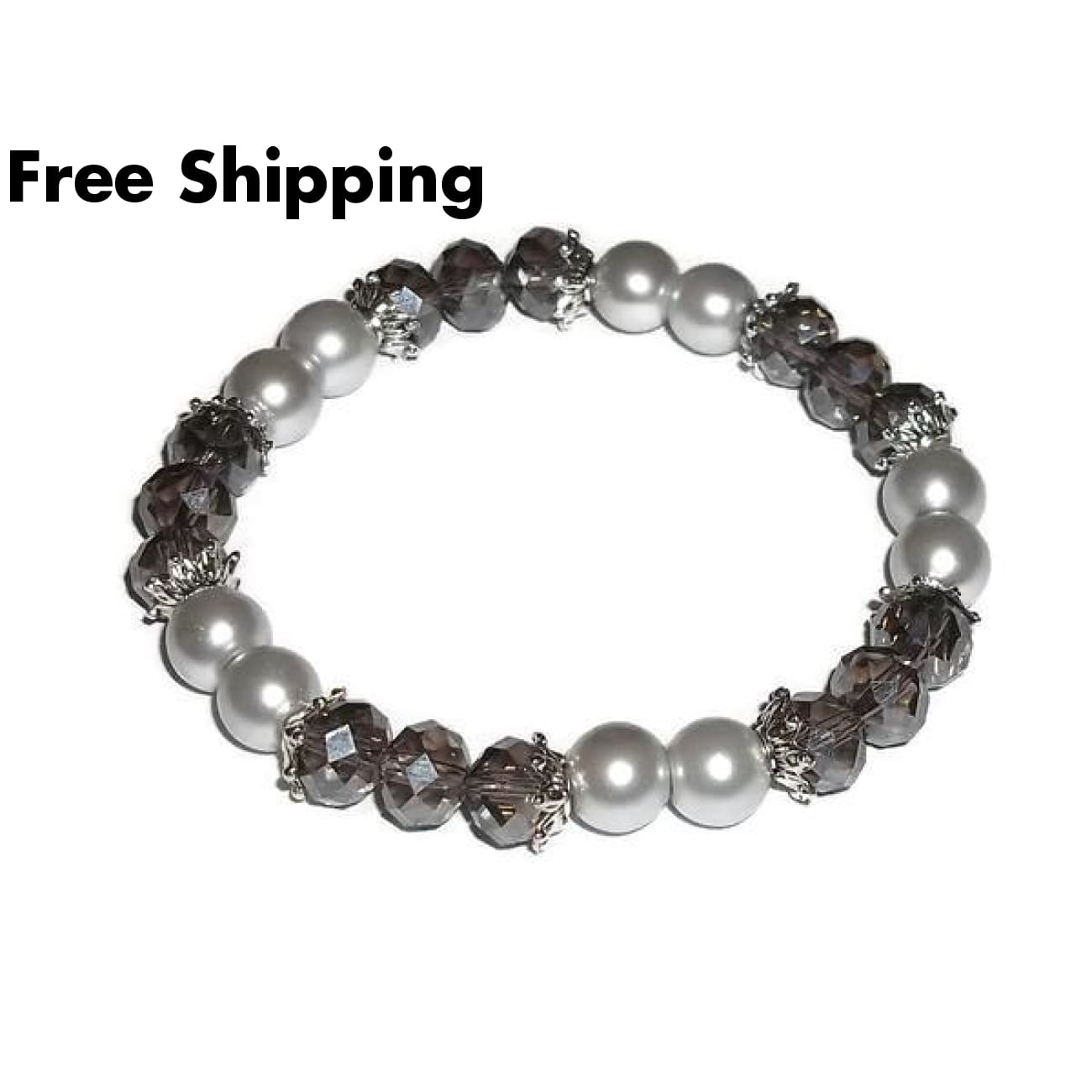 Light Grey Swarovski Crystal & Dark Grey Glass Pearl Beaded Artisan Crafted Stretch Bracelet ~ (M-L) - Bracelets