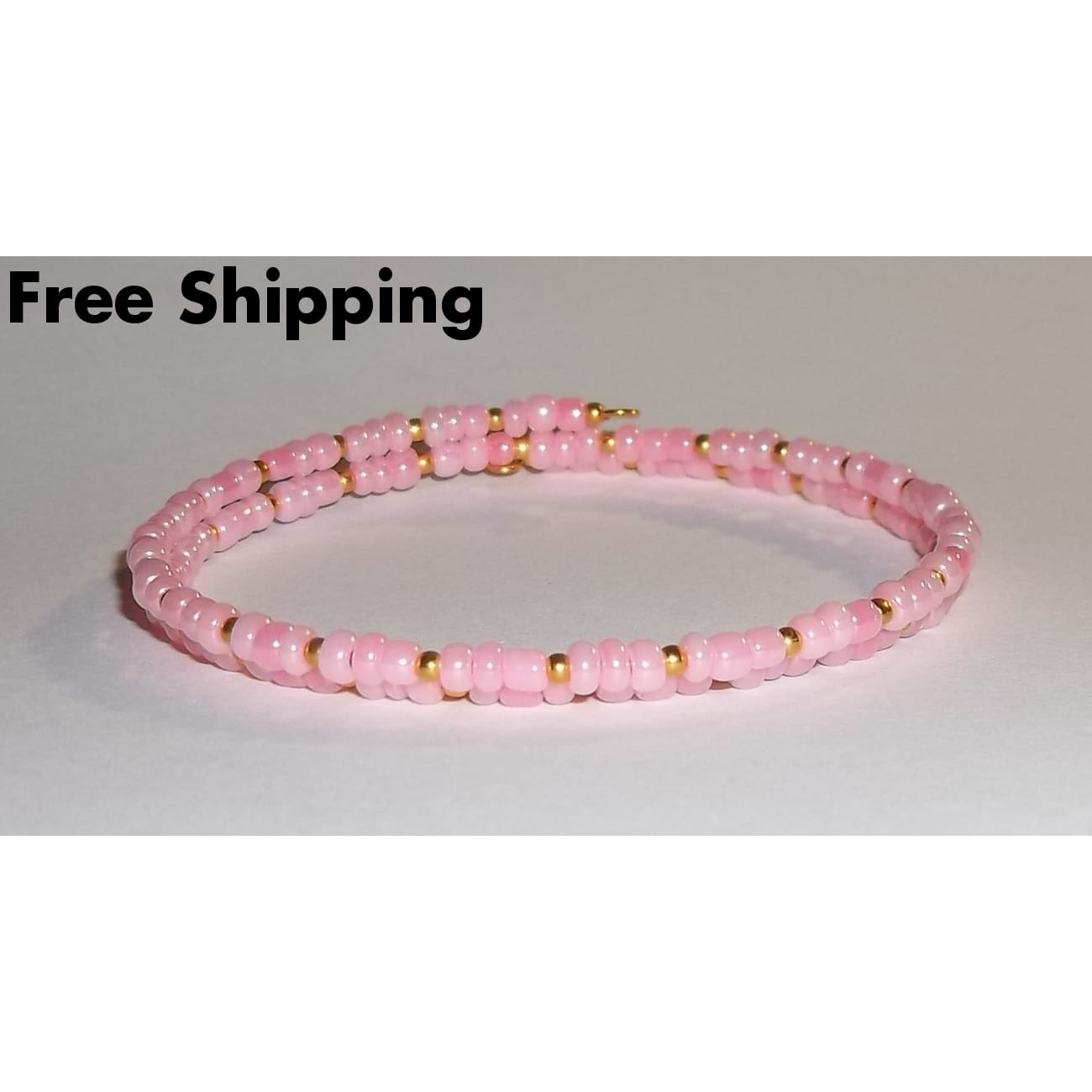 Light Pink & Gold Glass Beaded Artisan Crafted Stackable Wrap Bracelet (S-M) - New Arrival