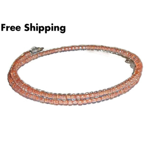 Light Pink Lined Glass Beaded Artisan Crafted Stackables Wrap Bracelet (Xs-M) - New Arrival