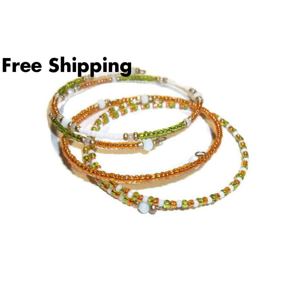 Lime Green Peachy Orange & White Glass Beaded Artisan Crafted Stackables Wrap 3 Bracelet Set (Xs-M) Jewlery Set Gift For Her Birthday Gift -