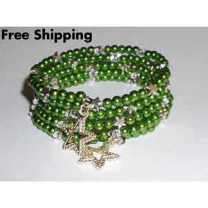 Lucky Stars Green Pearl Bead & Silver Beaded Artisan Crafted Wrap Bracelet - Bracelets