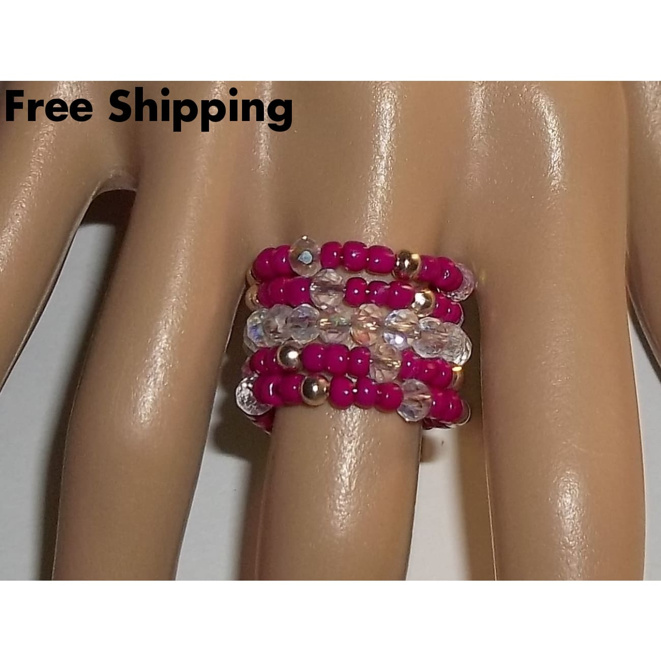 Magenta Glass & Clear Ab Swarovski Crystal Silver Statement Ring (Sz 6) - Rings