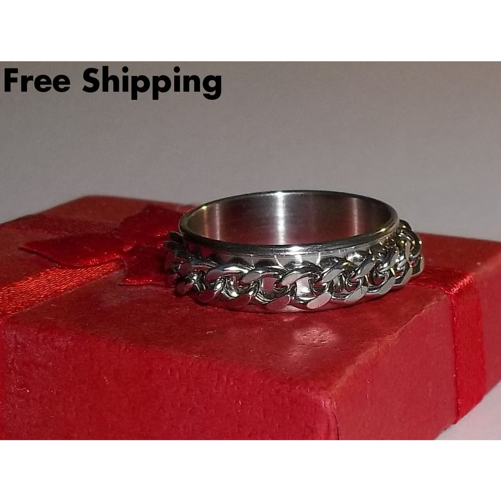 Mens Biker Rocker Goth Spinning Chain Stainless Steel 6Mm Band Ring (Sz 11Us) - Rings