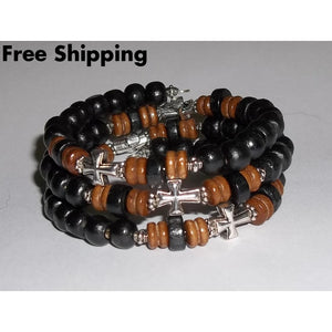 Mens Crosses Black & Brown Wooden Beaded Silver Hand Crafted Wrap Bracelet - Bracelets