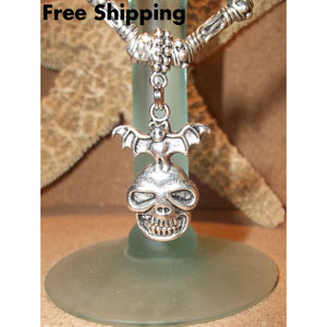 Mens Skull & Bat Natural Stone Stainless Steel & Wooden Beaded Tibetan Silver Hand Crafted Pendant - Pendants
