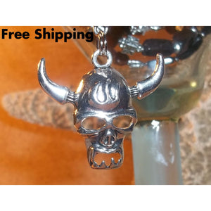 Mens Viking Skull Blackstone Tibetan Silver & Wooden Beaded Rocker / Goth 24 Necklace Pendant - Necklaces