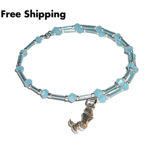 Mermaid Ocean Blue Glass Beaded Artisan Crafted Stackables Wrap Bracelet (S-M) - New Arrival